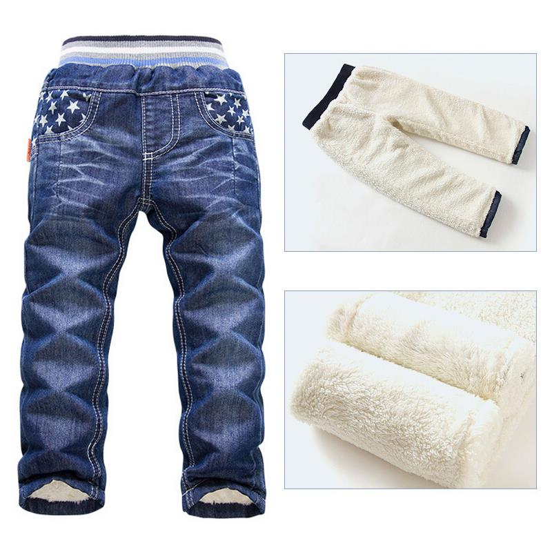 6-10Yrs Boys Fashion Pants Long Trousers For Boys Thick Warm Winter Spring Jeans Wool New 2017 Baby Boys Pants Kids Winter Jeans