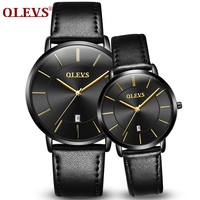 Lovers Couple Watch OLEVS Brand Mens Womens Watches Luxury Fashion Business Leather Watch Quartz Waterproof Wrist