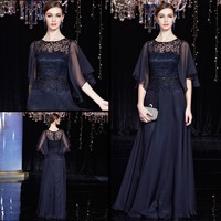 Free Shipping 2017 Hot One Shoulder With Jacket A Line Chiffon Cap Sleeve Black Lace Handmade