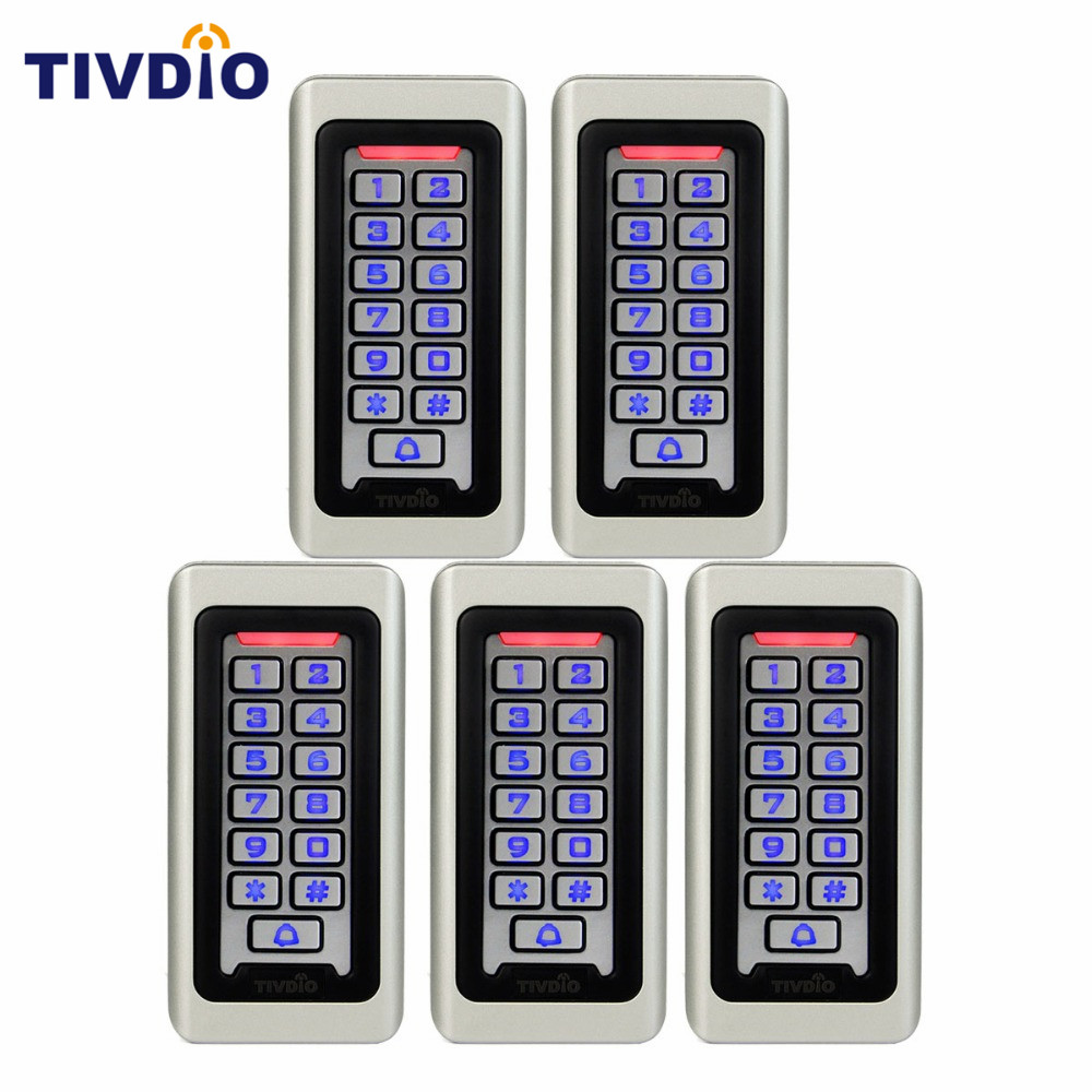 5 pcs Keypad For RFID Access Control System Proximity Card Standalone 2000 Users Door Access Control Waterproof Metal Case F9501 rfid ip65 waterproof access control touch metal keypad standalone 125khz card reader for door access control system 8000 users