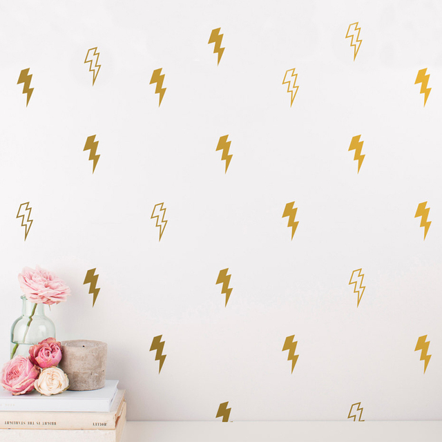 50 Pcs Lighting Wall Decals Gold Wall Art Sticker Vinyl Removable Unique  For Nursery Kids Bedroom