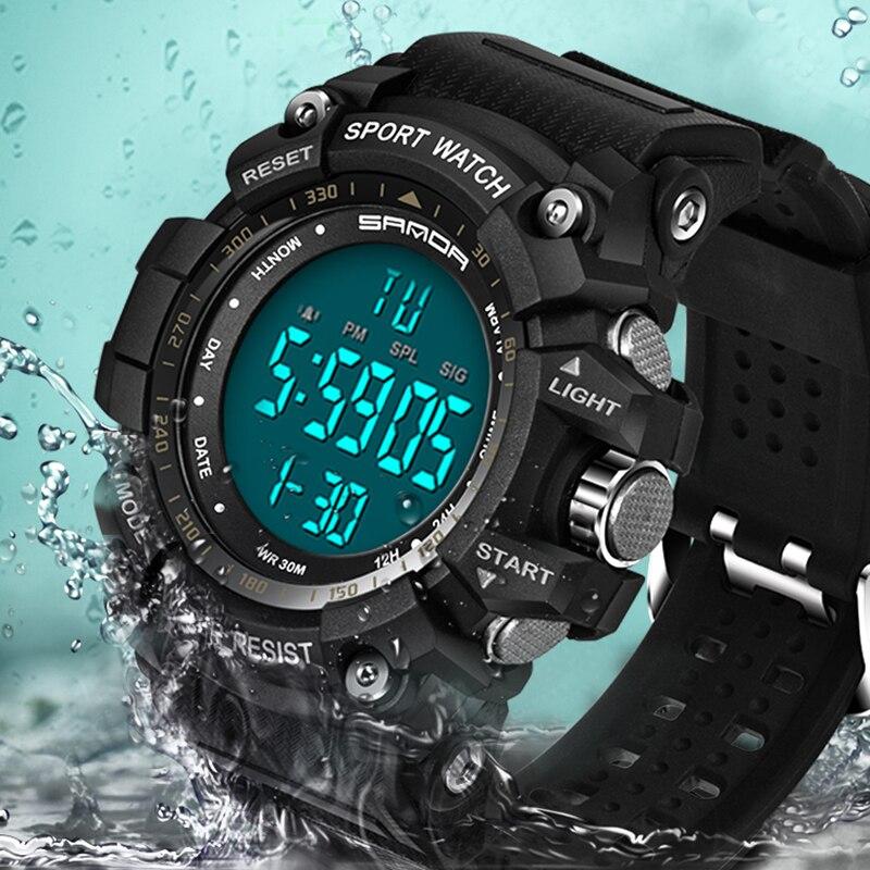 Relógio do Esporte Masculino à Prova Dwaterproof Água Relógio Masculino Contagem Regressiva Duplo Despertador Crono Digital