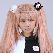 High Quality Women Girls Long Wavy Super Danganronpa 2 Cosplay Junko Enoshima Wig Dangan Ronpa Anime Hair + 2 Clips On Ponytails