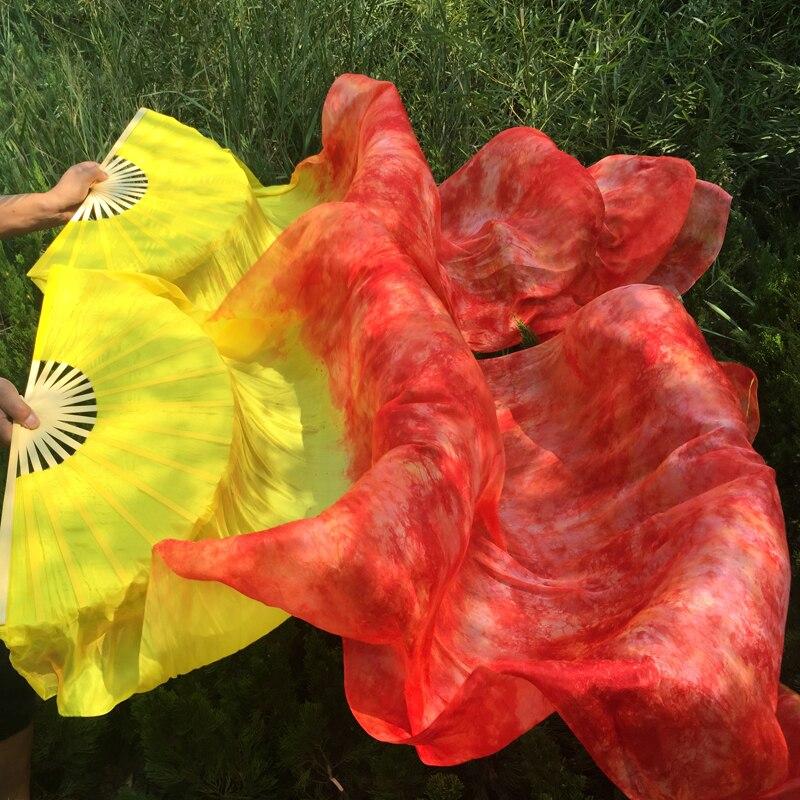 Jauns, dzelteni kaklasaites krāsots, 100% tīrs, īsts zīda fanu plīvuri vēderdejām. Seksīgs 180 cm garš zīda ventilators dejotājiem vai skatuvei