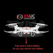 Free a extra battery  X5UC Aerial rc Drone With 2MP HD Camera Height Hold One Key Land 2.4G 4CH 6-Axis RC Quadcopter VS X600