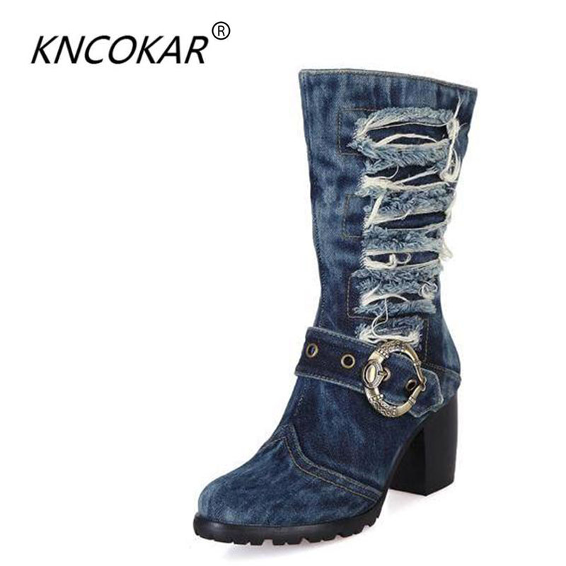 The European and American designer shoes qiu dong high-heeled boots denim thick with knight boots fashion sexy bootsThe European and American designer shoes qiu dong high-heeled boots denim thick with knight boots fashion sexy boots
