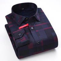 Men S Long Sleeve Thick Warm Plus Velvet Dress Shirt With Left Chest Pocket Winter Smart