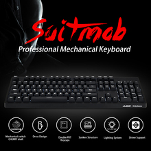 лучшая цена AJAZZ Mechanical Keyboard Professional Gaming Keyboard Red /Blue Switch Wired White Backlit Keyboard Blue Switch
