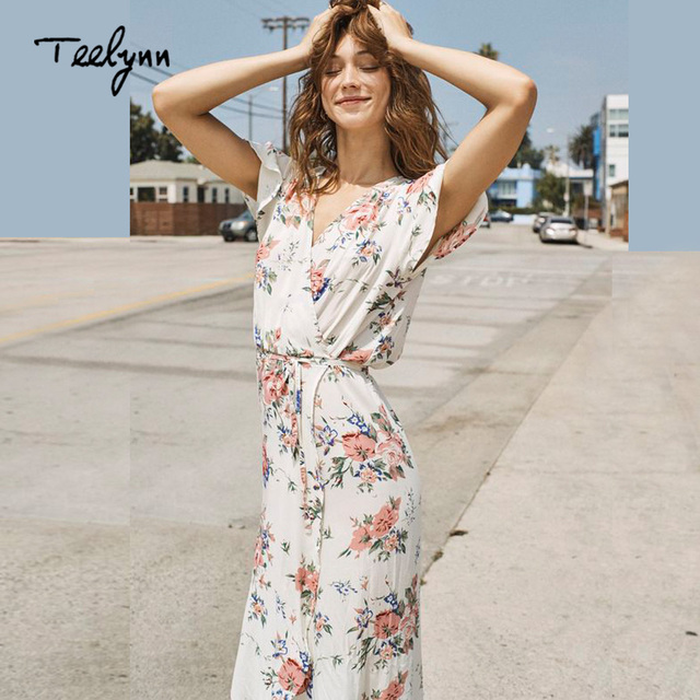 26ddf051f201 TEELYNN Boho long Dresses 2018 rayon cream color Floral print hippie sexy v- neck wrap summer dress Vintage Women dress Vestidos