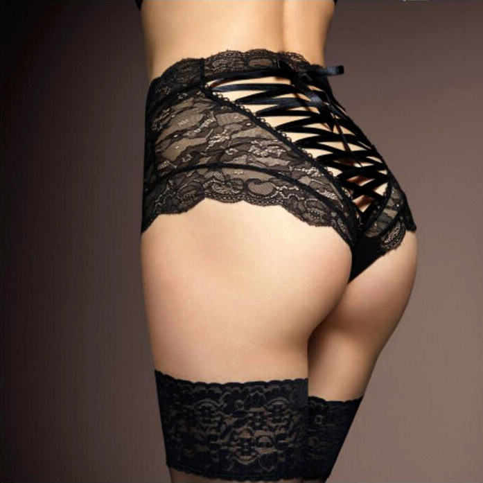 Hot Sale Briefs For Women Fashion High Waist Black Lace Underwear Sexy Cross Lacing Underpants Lady