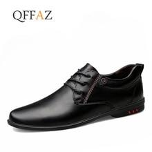 QFFAZ/Большие размеры 38-46, Мужские модельные итальянские кожаные туфли Брендовые мужские лоферы из натуральной кожи, официальные лоферы, мокасины для мужчин