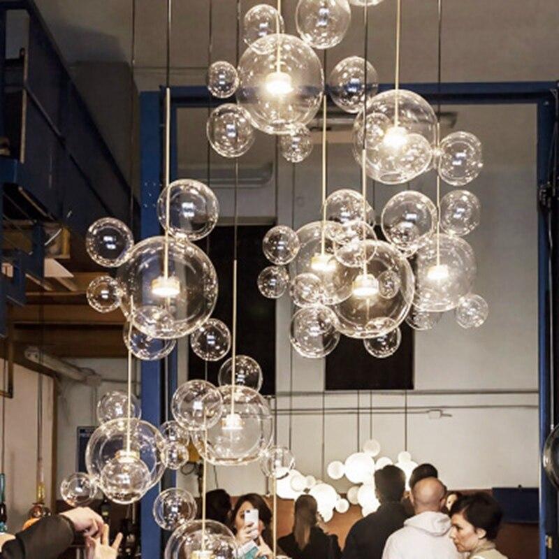 Murano verre bulle lustre cuisine chambre salle à manger Restaurant lustre quarto Art décor Micky souris forme verre globe lampe