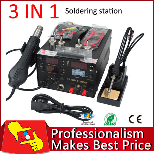 220V SAIKE 909D 3 in 1 rework station with  hot air gun,SMD soldering iron repair welding station soldering station saike 852d rework station soldering iron hot air rework station hot air gun 2in1 with holder and gift e