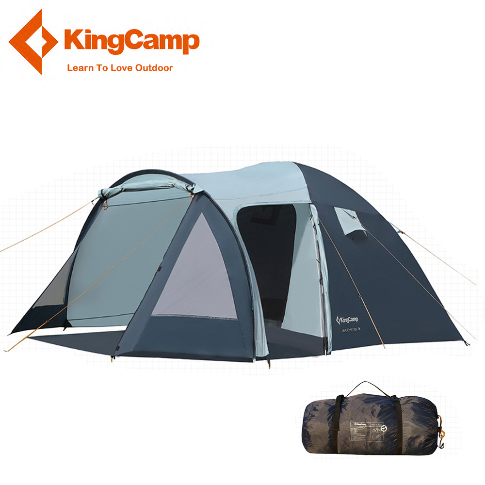 KingCamp 3-4 Person Weekend Tent Portable Durable Waterproof Family Camping Tent Double Layer Dome Tent with Screen room outdoor camping hiking automatic camping tent 4person double layer family tent sun shelter gazebo beach tent awning tourist tent