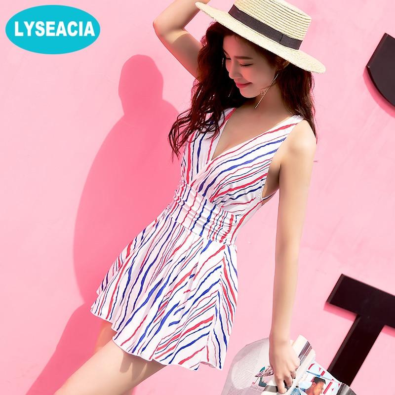 LYSEACIA Woman One Piece Swimsuit Stripes Swim Dress Beach V Neck Strappy Swimsuits with skirt Backless Bathing Women's Swimwear adidas купальник 3 stripes swimsuit