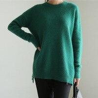 2019 новые осенние свитера первоклассная рубашка зеленый короткий корейский свободный свитер с длинными рукавами