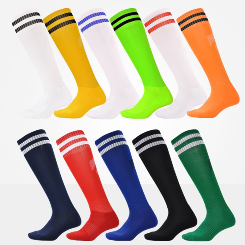 1 pair of barreled football polyester socks for Mens Kids Boys Sports Durable Long Cycling Sock Absorbent sox non-slip movement