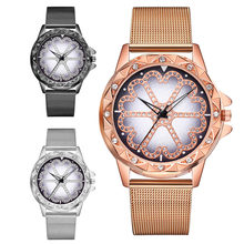 Classic Fashion Wrist Watch Women's Casual Quartz Plastic Leather Mesh belt Band Lucky Flower Rhinestone Watches Dropship(China)