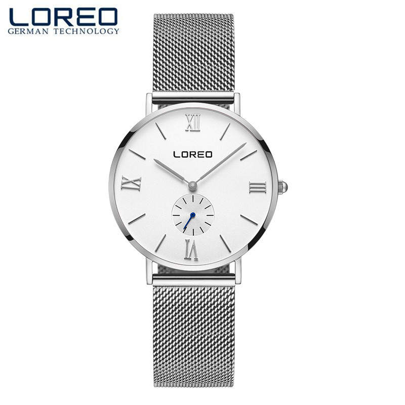 LOREO Relogio Feminino Clock Women Men Watch Stainless Steel Business Watches Ladies Fashion Casual Watch Quartz Wristwatch M20 new fashion unisex women wristwatch quartz watch sports casual silicone reloj gifts relogio feminino clock digital watch orange