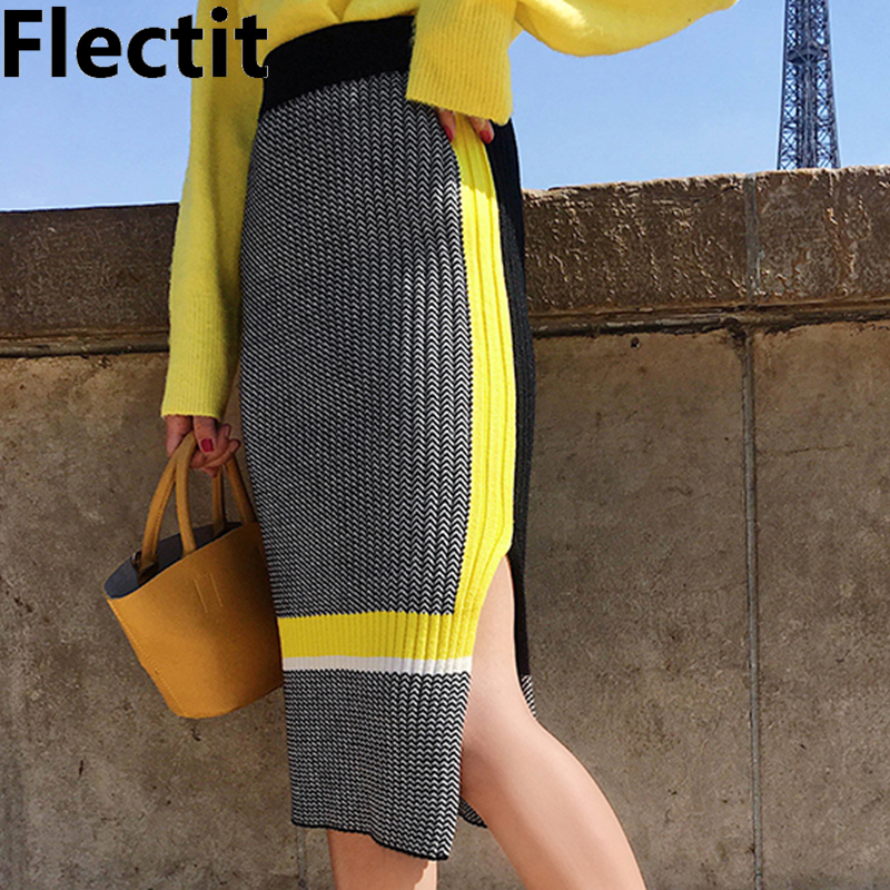 Flectit Fall Winter High Street Color Block Bodycon Knit Skirt High Waist Side Split Knee Length Pencil Skirts Women Knitwear