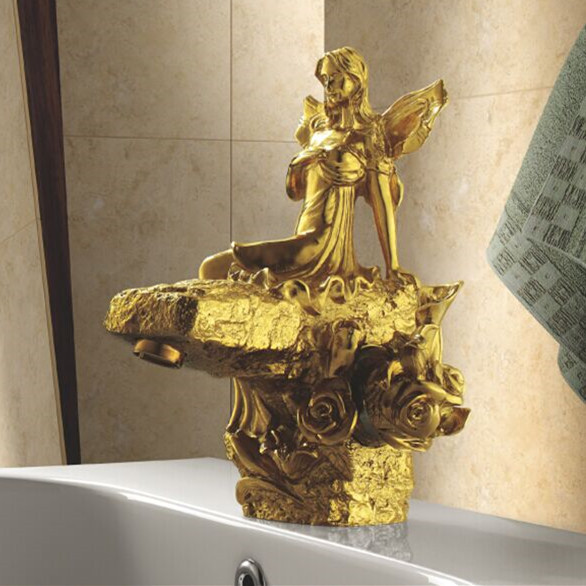 Basin Faucet Brass Luxury Golden Bathroom Sink Faucet Single Lever Art Dec Fairy Hotel Bathbasin Mixer Water Tap Cock LC-67D1-A декор blau fifth avenue dec tyffanny a 25x75