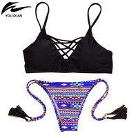 Été Nouveau Style Sexy Micro Bikini Brésilien Gland Imprimé Fond Top Solide Noir Maillot De Bain Pour Les Femmes S M L vente et Vente En Gros
