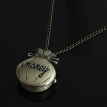 wholesale price good quality new cute fashion vintage retro money bag wallet pocket watch necklace with chain hour(China (Mainland))