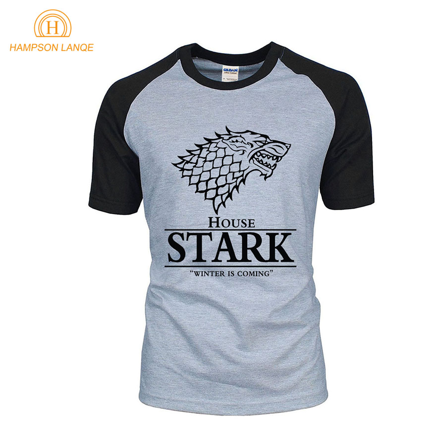 hot sale Game of Thrones raglan tee House Stark letters Winter Is Coming t shirt 2019 summer hot sale 100% cotton top tees S-2XL