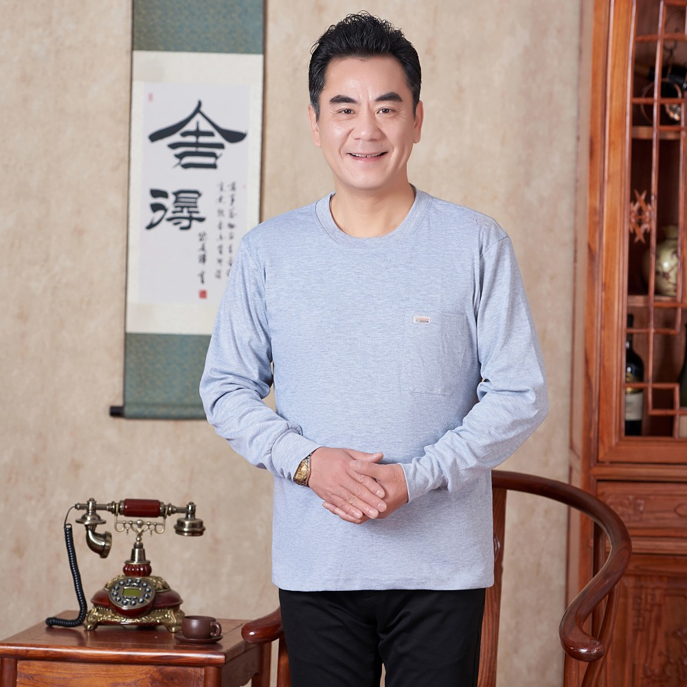 Mature Man Casual Tshirt Red Gray Navy Blue Plain Colour Cotton Top Male Spring Autumn Comfort Daily Tees Mens Leisure T shirts in T Shirts from Men 39 s Clothing