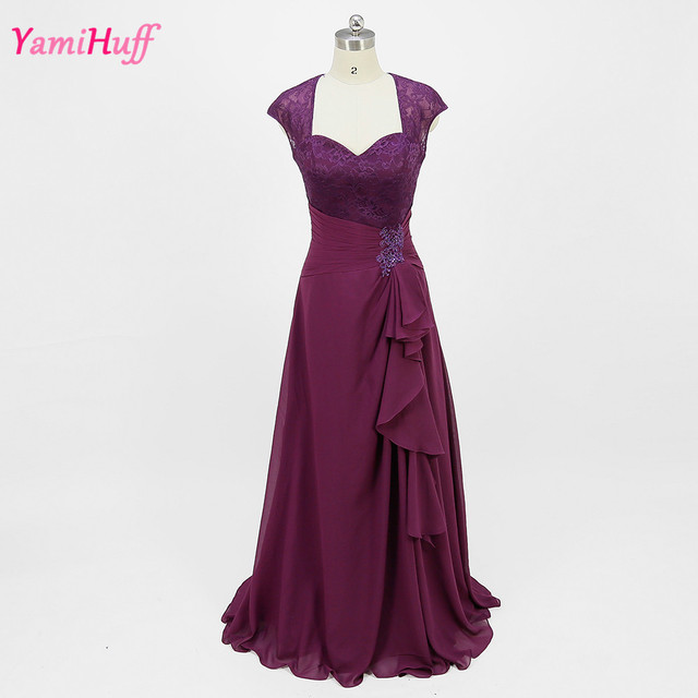 Purple Plum Long Evening Dresses Mother Groom Gowns Lace 2017 Plus