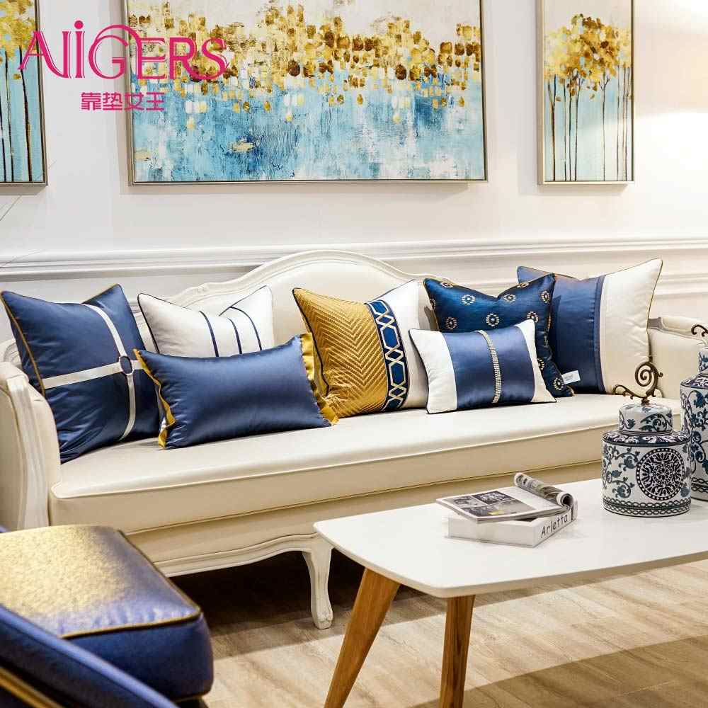 Avigers Luxury Patchwork Embroidered Blue White Striped Modern Home Decorative Throw Pillow Cases Square Cushion Covers