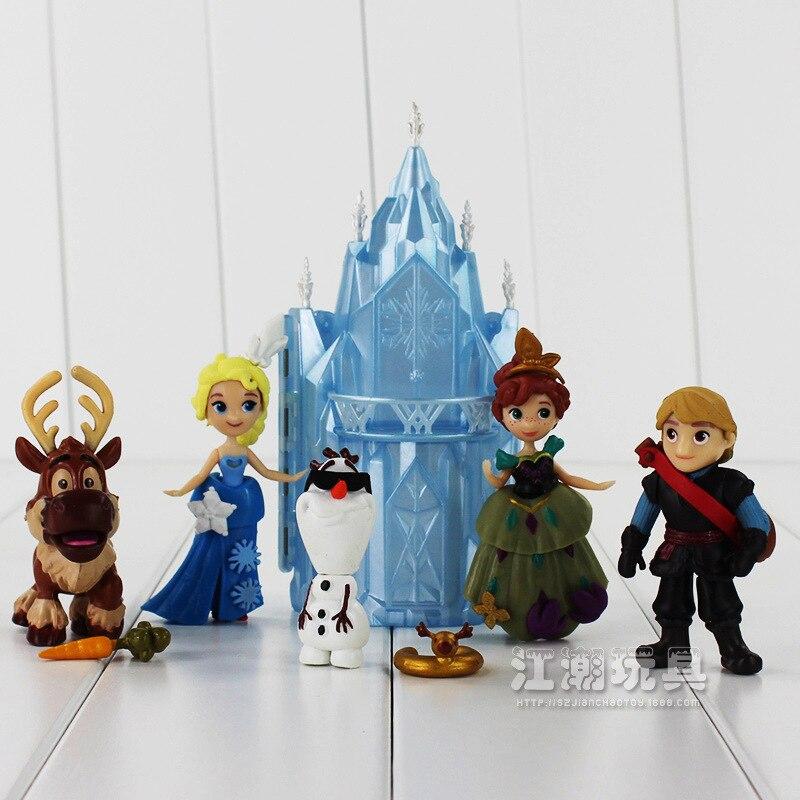 <font><b>Frozen</b></font> Movie figure <font><b>Anna</b></font> <font><b>Elsa</b></font> Princess Figure Olaf Sven <font><b>Kristoff</b></font> and Castle Ice Palace Throne PVC <font><b>Q</b></font> <font><b>Version</b></font> Action Figures <font><b>Set</b></font>