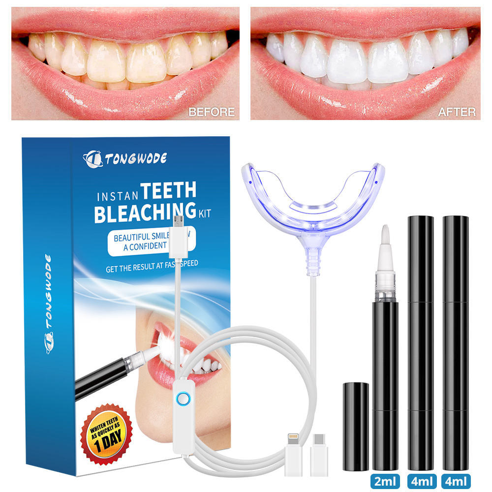 Teeth Whitening Kit With Smart Device Blue LED Light For Phone Plug And 3 Gel Pens Portable Tooth Bleaching Accelerator Home Set
