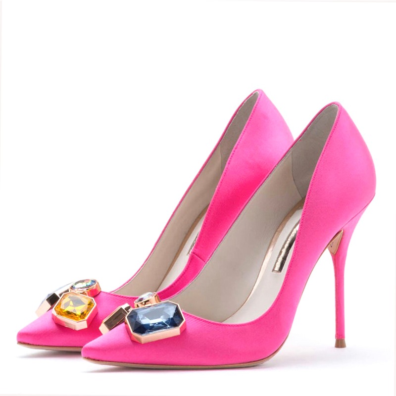 Carollabelly New Brand Women Evening Shoes Woman High Heels 10CM Wedding Heels Rose Red Women Pumps Brand Party Shoes For Women siketu 2017 free shipping spring and autumn women shoes fashion sex high heels shoes red wedding shoes pumps g107