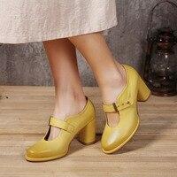 Spring High Heel Women Shoes 2017 Handmade Genuine Leather Buckle Women Pumps New Vintage Style