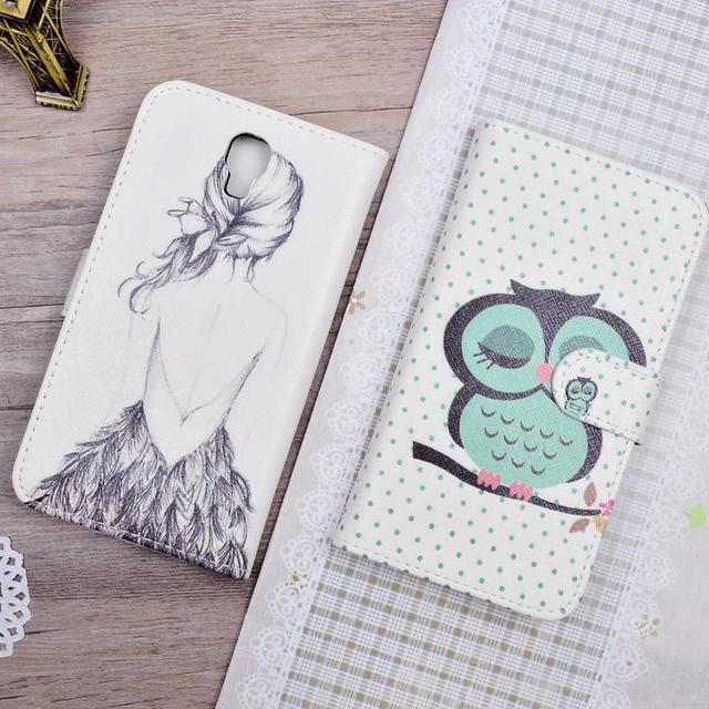 for Samsung Galaxy Note 3 Neo N750 N7505 N7502 SM-N750 SM-N7505 cover High Quality Cartoon Pattern PU Leather Flip Case