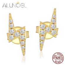 ALLNOEL 2019 Real 925 Sterling Silver Zircon Diamond Earrings For Women Gold Stud Earlobe Lightning Bolt Earring Bijoux Jewelry(China)