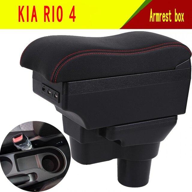 Para 2017 kia rio 4 rio x line caixa de apoio de braço loja central conteúdo caixa suporte de copo cinzeiro interior do carro estilo acessórios