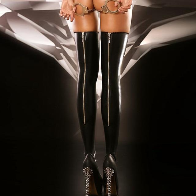 Сексуальная Черная Молния Искусственная Кожа Стиль Высокие Чулки Сексуальные Шелковые Чулки Ночной Клуб Одежда для Танцев Женщины