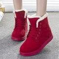 Mujeres Botas de Nieve 2016 de la Moda Botas Mujer Zapatos de Las Mujeres Botas de Invierno Cálido de Piel Botines Para Mujer Zapatos de Invierno