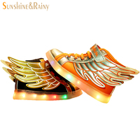 Hot Sale New 2017 Fashion Wings Children Sneakers Gold Black Sequined Kids Light Shoes High Top Boy Girl Luminous Led Shoes