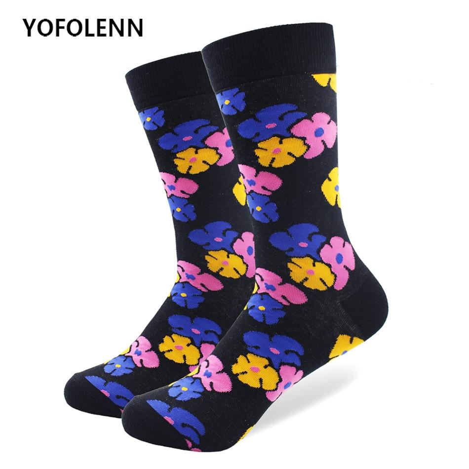 Brand Quality Mens Happy Socks Flower Star Socks Newly Style Colorful Men Combed Cotton Tide Cool Street-wear Kimono Socks
