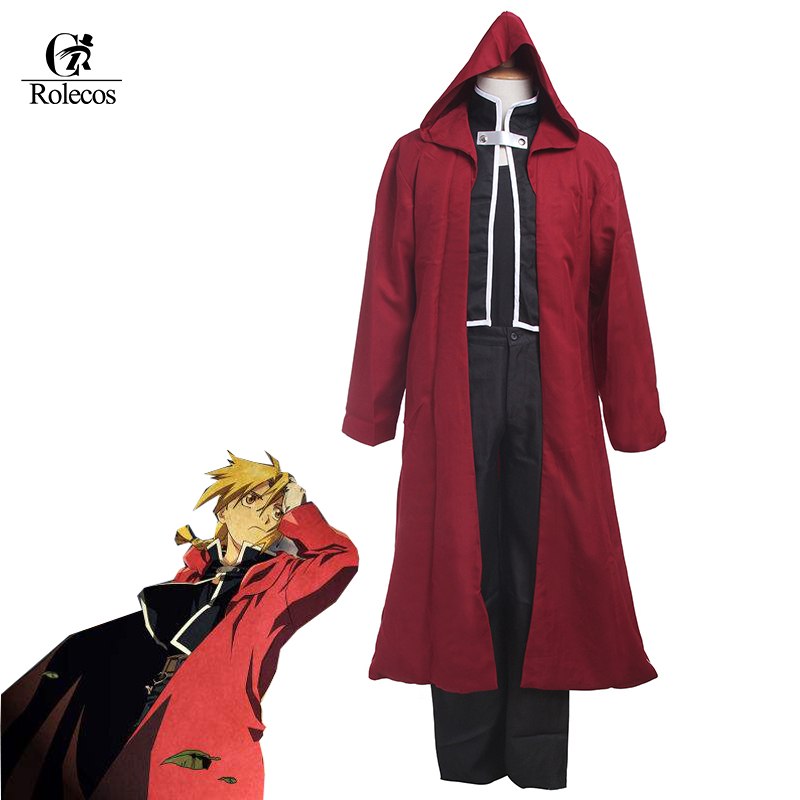 Rolecos Cosplay Anime Fullmetal Alchemist Edward Elric Black Top+ Red Coat Halloween Edward Cosplay Costume