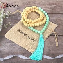 Shinus collier maxi femmes colar déclaration vintage 2017 long colliers pendentif pompon collier mala pierre en bois perle bijoux(China (Mainland))