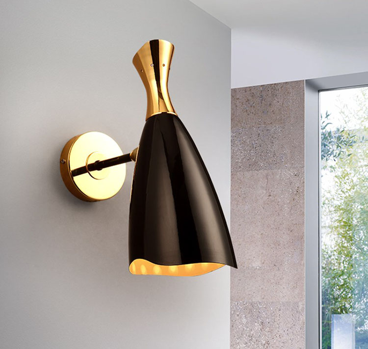 Post-modern restaurant cafe mirror front lamp two source plated and painted wall light bedside corridor wall lampPost-modern restaurant cafe mirror front lamp two source plated and painted wall light bedside corridor wall lamp