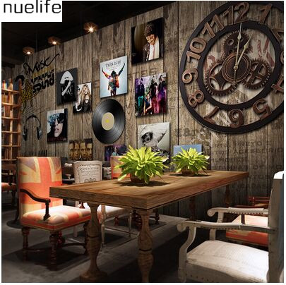 ФОТО 0.53x10m Retro Wooden Old Patterns Europe and America Poster Mural Bar Cafe TV Wall Background Wall KTV Wallpaper