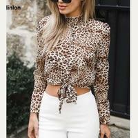 LINLON New Fashion Women Leopard Print Chiffon Blouse Lady Sexy Long Sleeve Shirt Loose Turtleneck Puff Sleeve Leopard Blouses