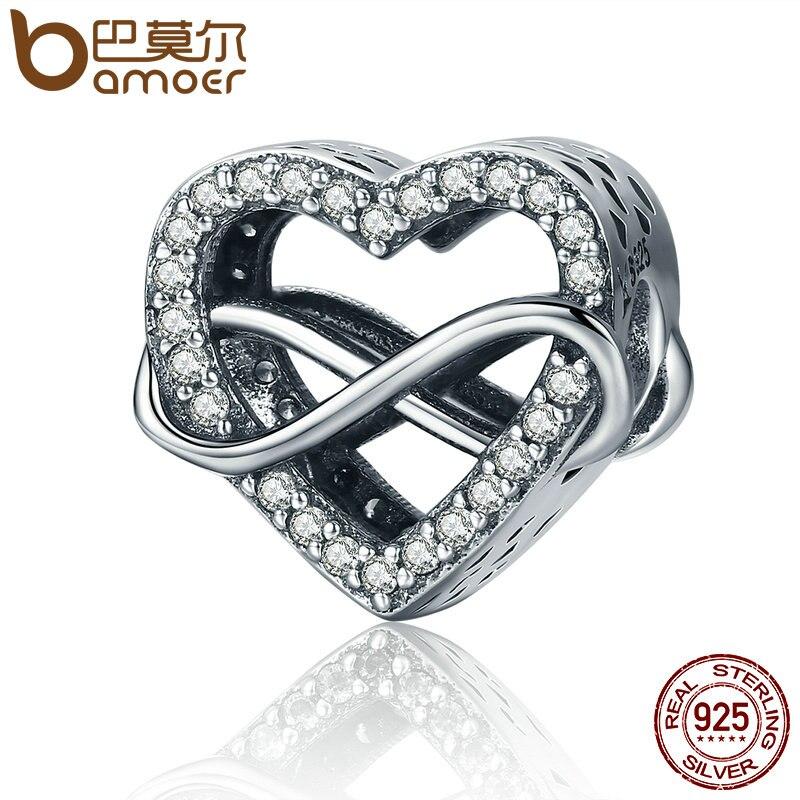 BAMOER auténtico 100% de Plata de Ley 925 interminable amor infinito amor granos de los encantos de las mujeres pulseras accesorios de la joyería SCC432