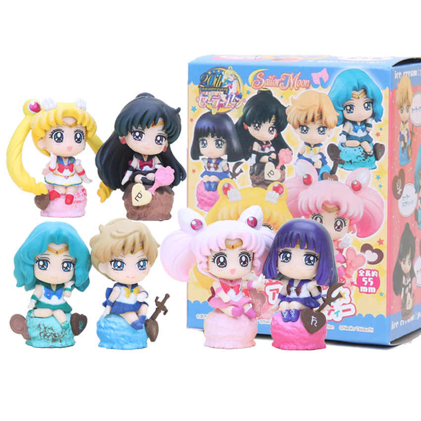 Sailor Moon 6pcs/set Ice Cream Party Action Figure Kaiou Michiru Chibi Usa Sailor Saturn Doll PVC figure Brinquedos Anime 5-8CM