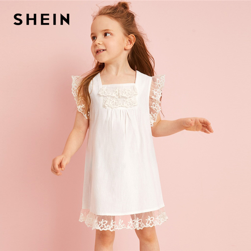 SHEIN Kiddie White Toddler Girls Embroidered Mesh Ruffle Lovely Tunic Dress Summer Sleeveless Sheer Zipper Cute Straight Dresses mini lace sheer ruffle slip babydoll